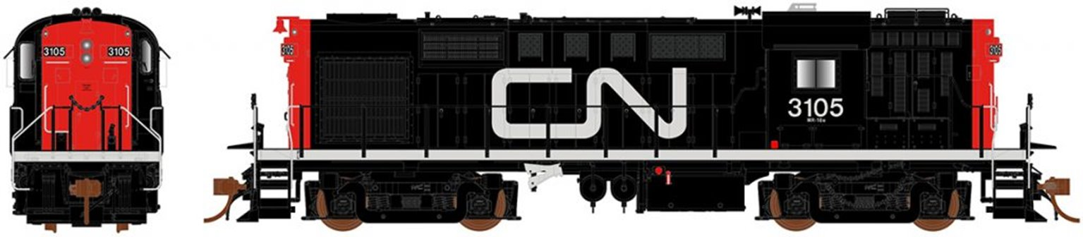 Canadian National (Noodle) MLW RS-18 Diesel Locomotive #3105 (DCC Sound)