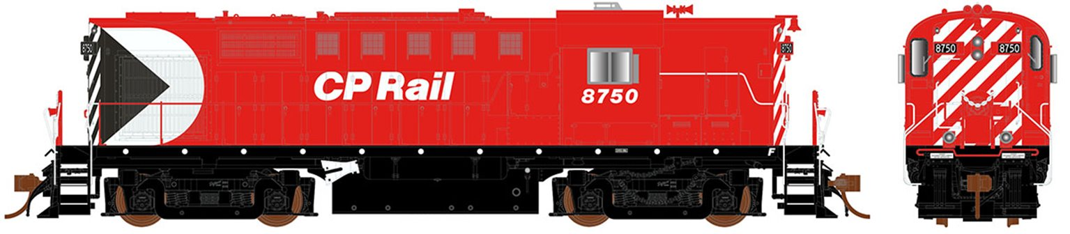 CP Rail Action Red (8″ Stripes) with Ditch Lights MLW RS-18 Locomotive #8750 (DCC Sound)