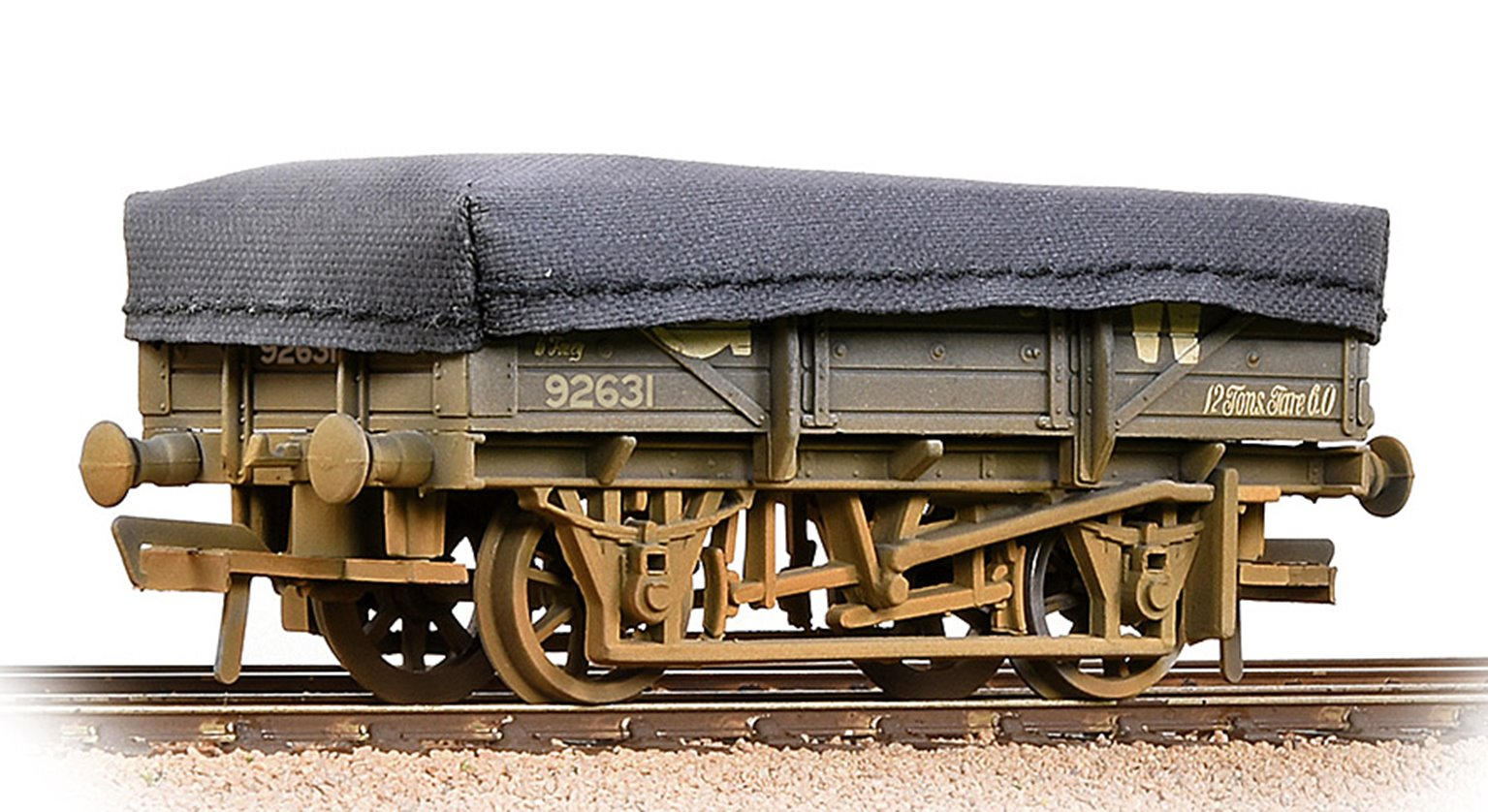 5 Plank China Clay Wagon GWR Grey With Tarpaulin Cover- Weathered