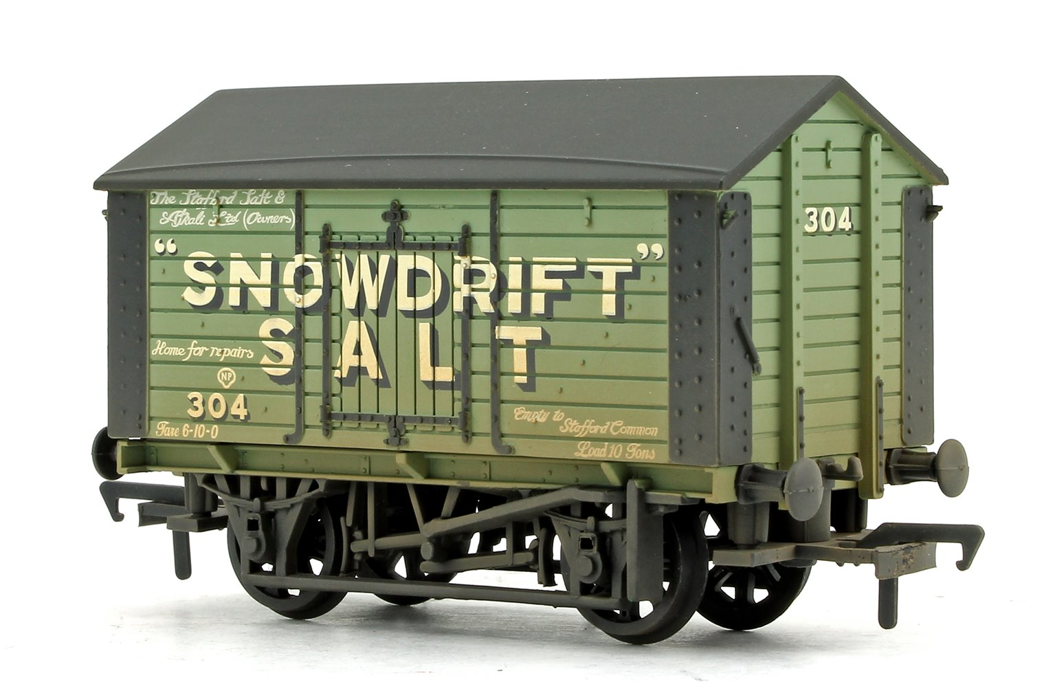 10T Covered Salt Wagon 'Snowdrift Salt' Green - Weathered