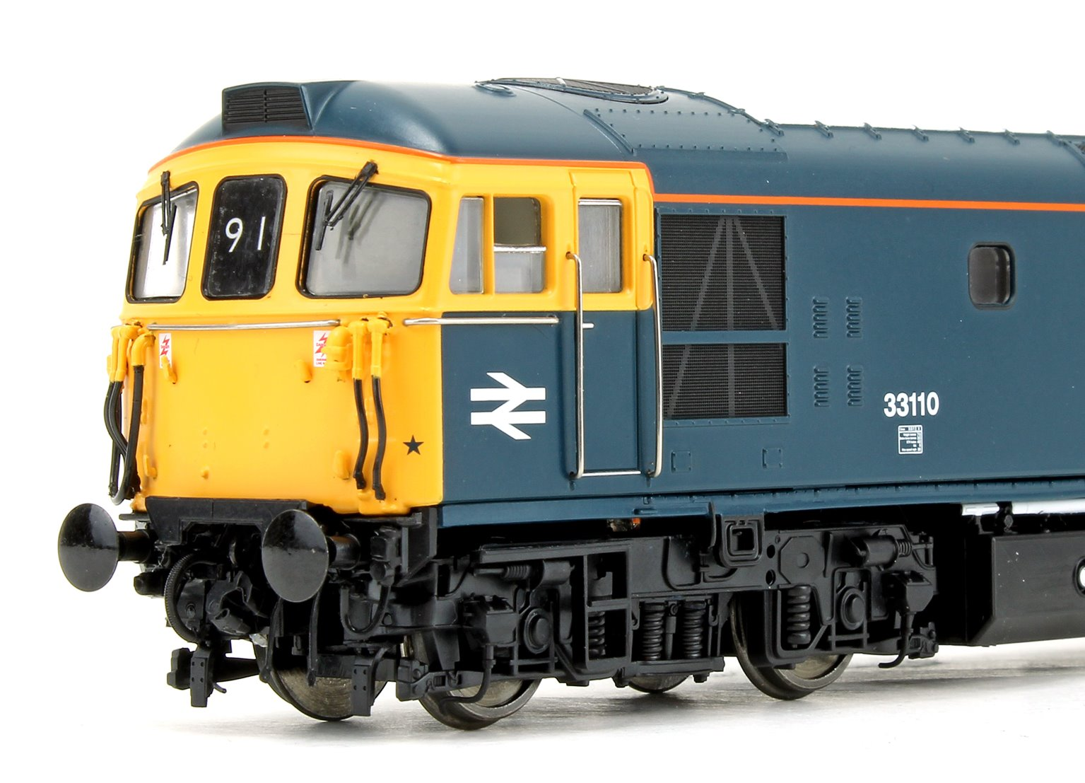 Class 33 110 BR Blue (DCE yellow cab side stripes and orange catrain stripes) Diesel Locomotive
