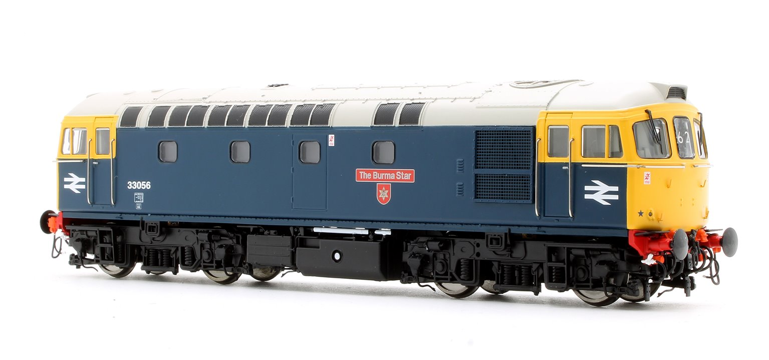 "Class 33/0 'Crompton' 33056 ""The Burma Star"" in BR Blue with Full Yellow Ends (Later Exhaust)"