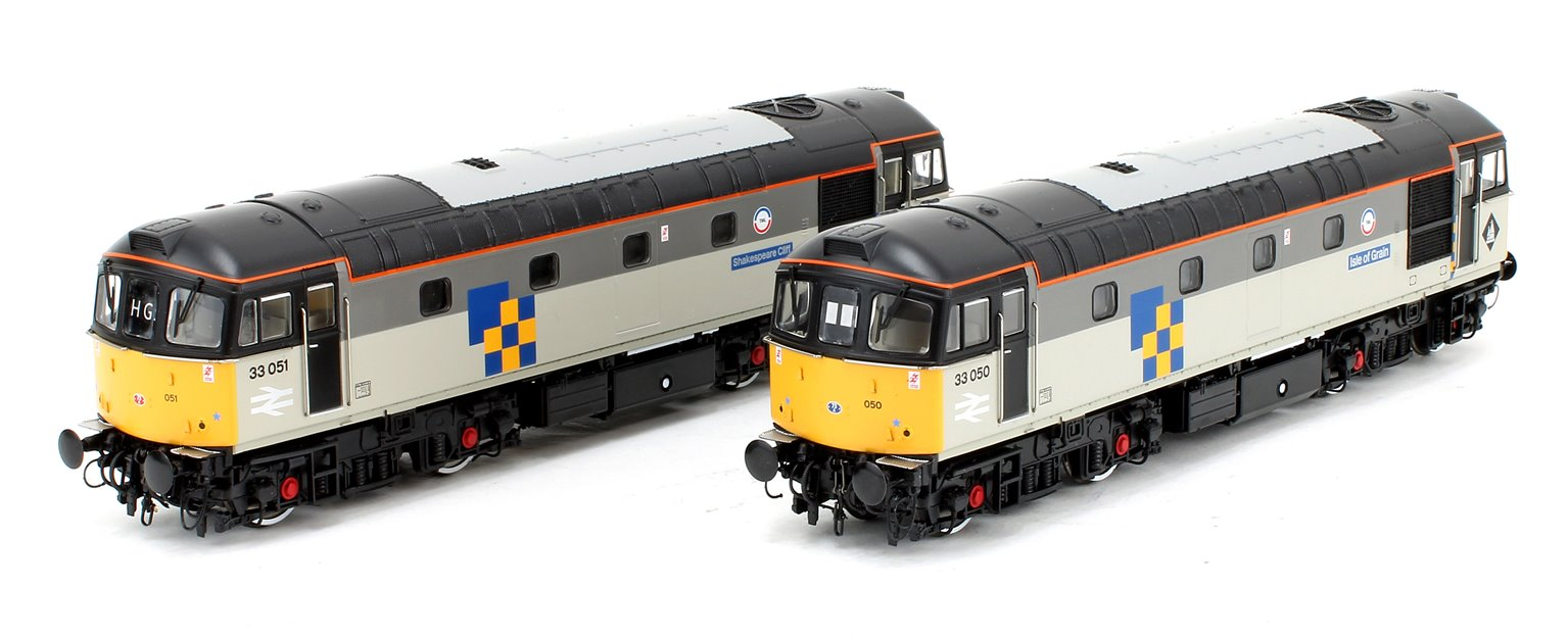 Class 33 Railfreight Construction Locomotive Twin Pack (33050 Isle of Grain + 33051 Shakespeare Cliff)
