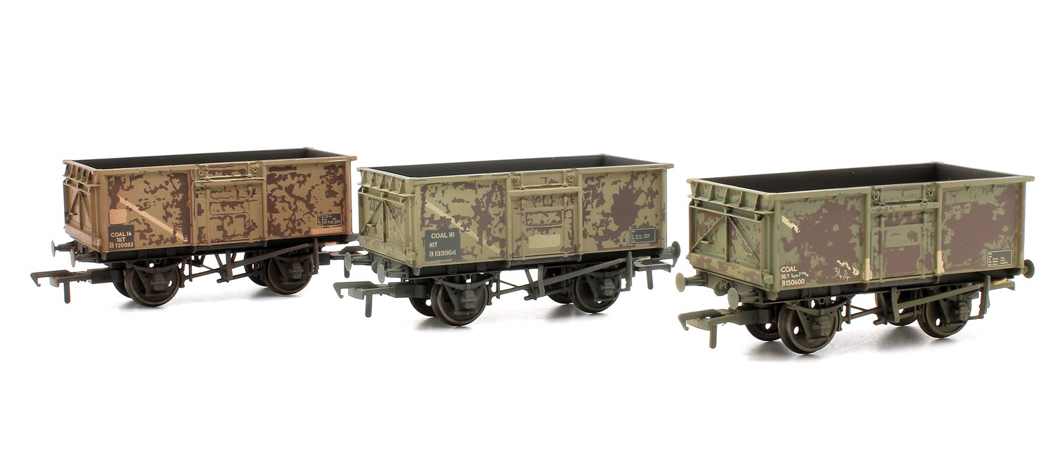Triple Pack 16 Ton Steel Mineral Wagons BR Grey with Load Weathered