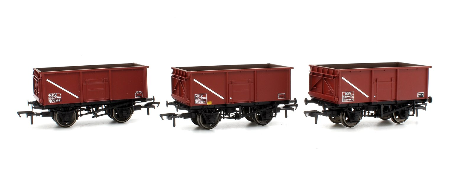 Triple Pack 16 Ton Steel Mineral Wagons BR Bauxite