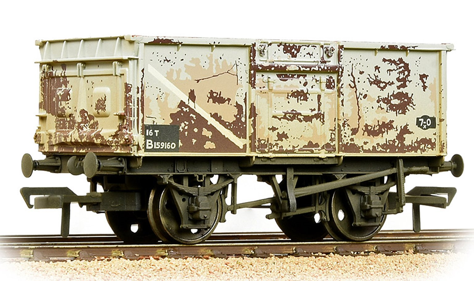 BR 16T Steel Mineral Wagon Pressed End Door BR Grey (Early) - Weathered