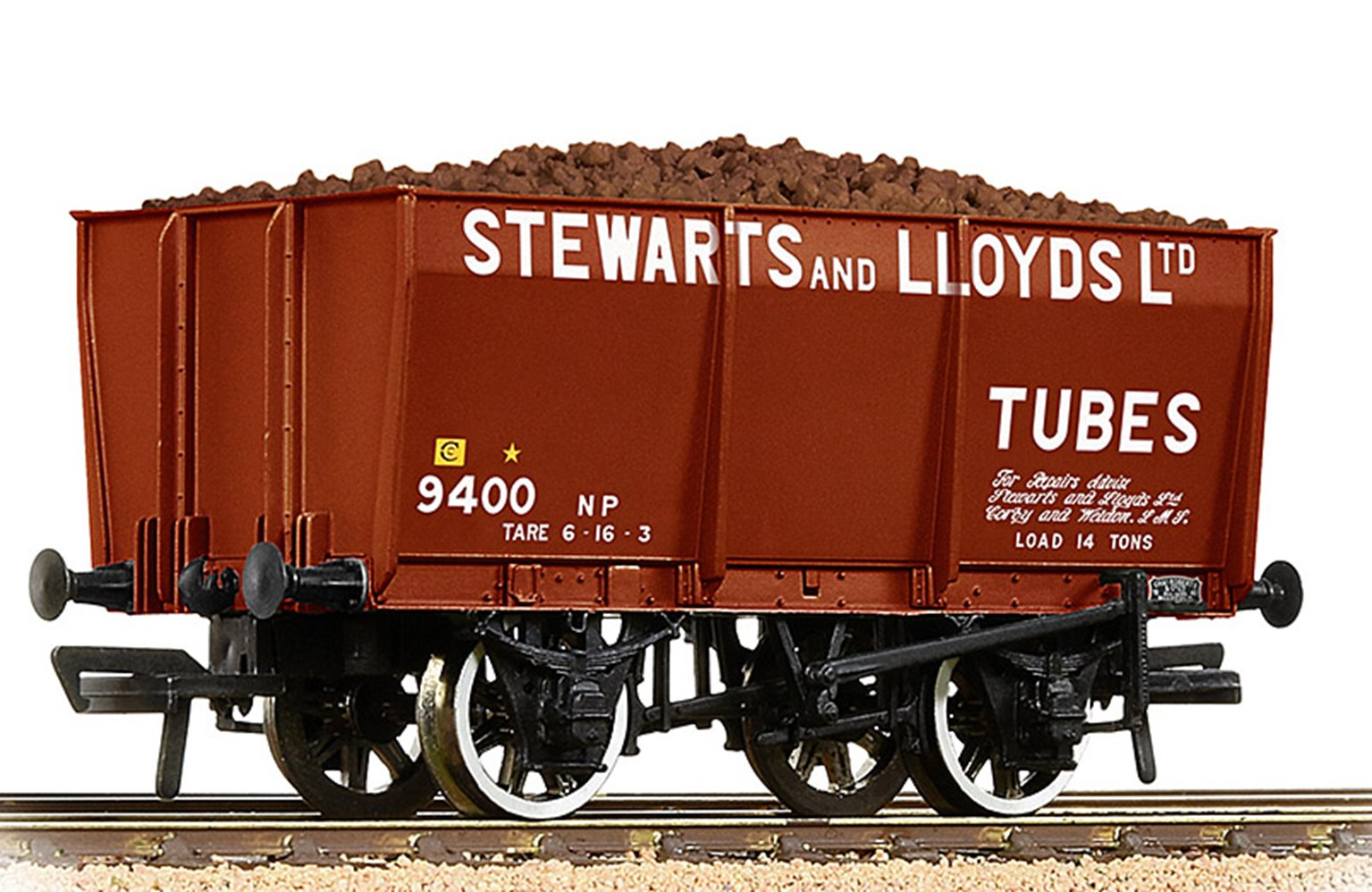 16T Steel Slope-Sided Mineral Wagon 'Stewart & Lloyds' Red