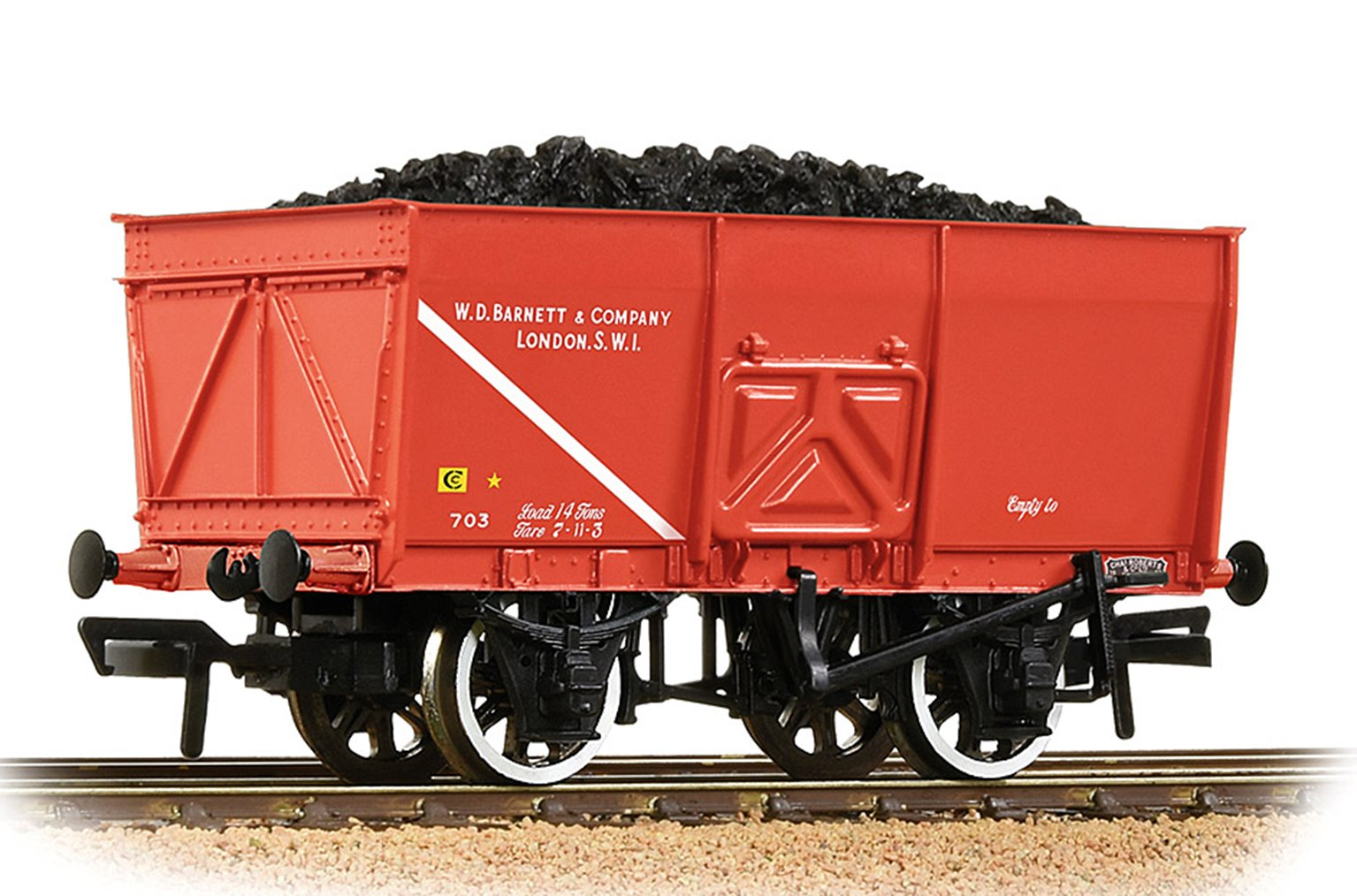 16T Steel Slope-Sided Mineral Wagon 'WD Barnett & Co.' Red
