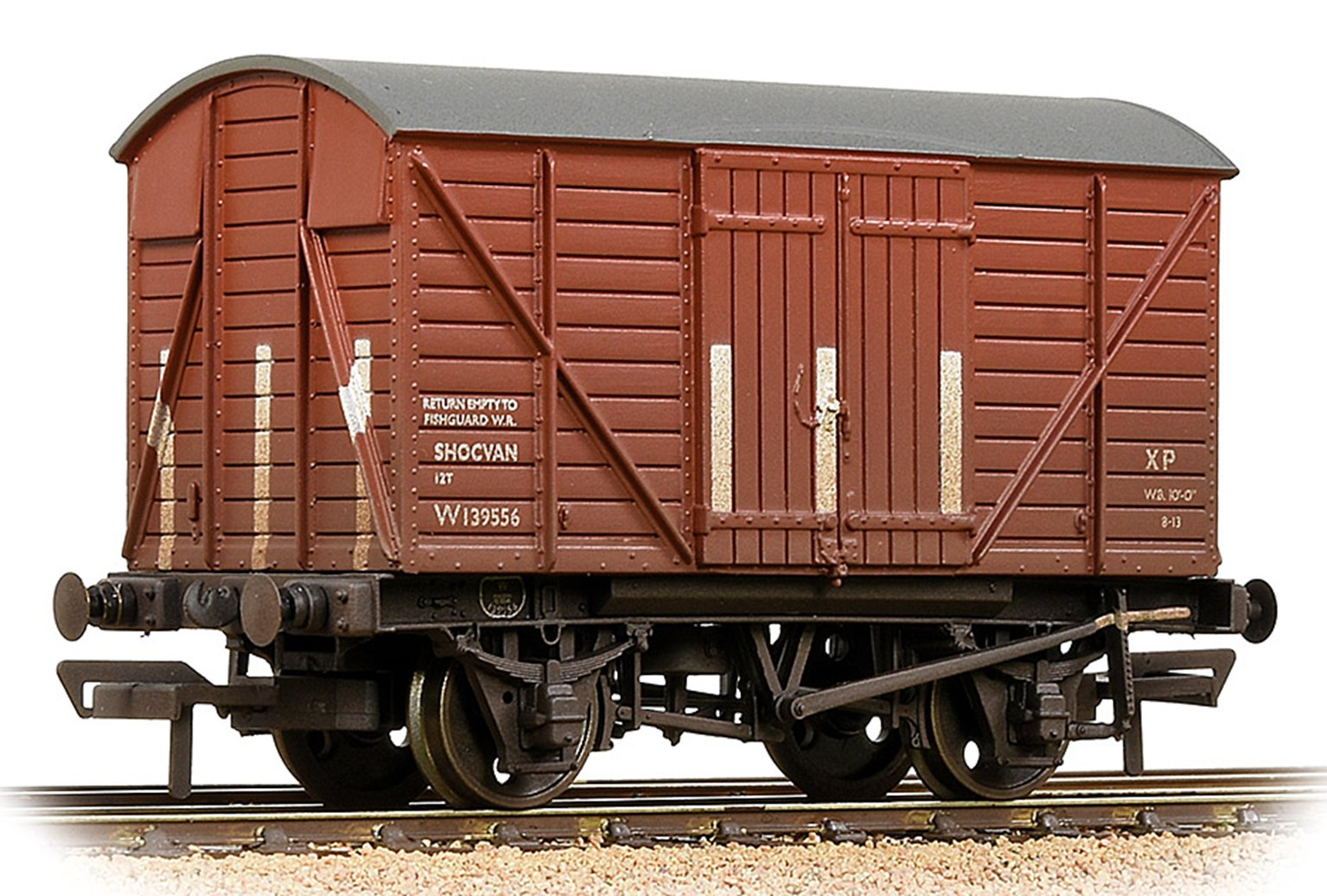 GWR 12T Shock Van Planked Ends BR Bauxite (Early) - Weathered