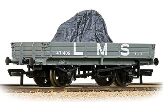 3 Plank Wagon LMS Grey with load