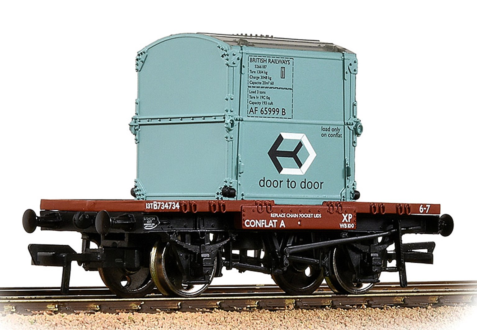 Conflat Wagon BR Bauxite (Early) With BR Ice Blue AF Container