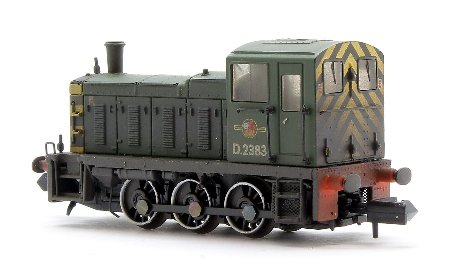 Class 03 D2383 BR Green Wasp Stripes Weathered Diesel Shunter