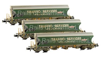 Set of 3 'Traffic Services' Bulk Grain Bogie Hopper Wagons (Weathered)