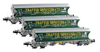 Set of 3 'Traffic Services Limited' Bulk Grain Bogie Hopper Wagons