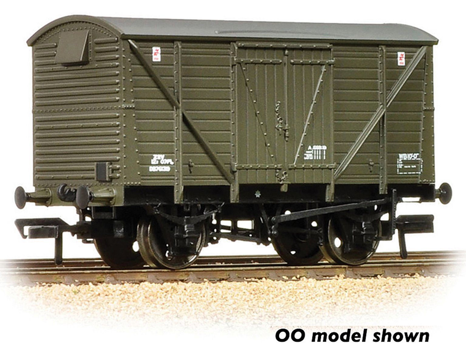 BR 12T Ventilated Van Planked Sides BR Departmental Olive Green Weathered