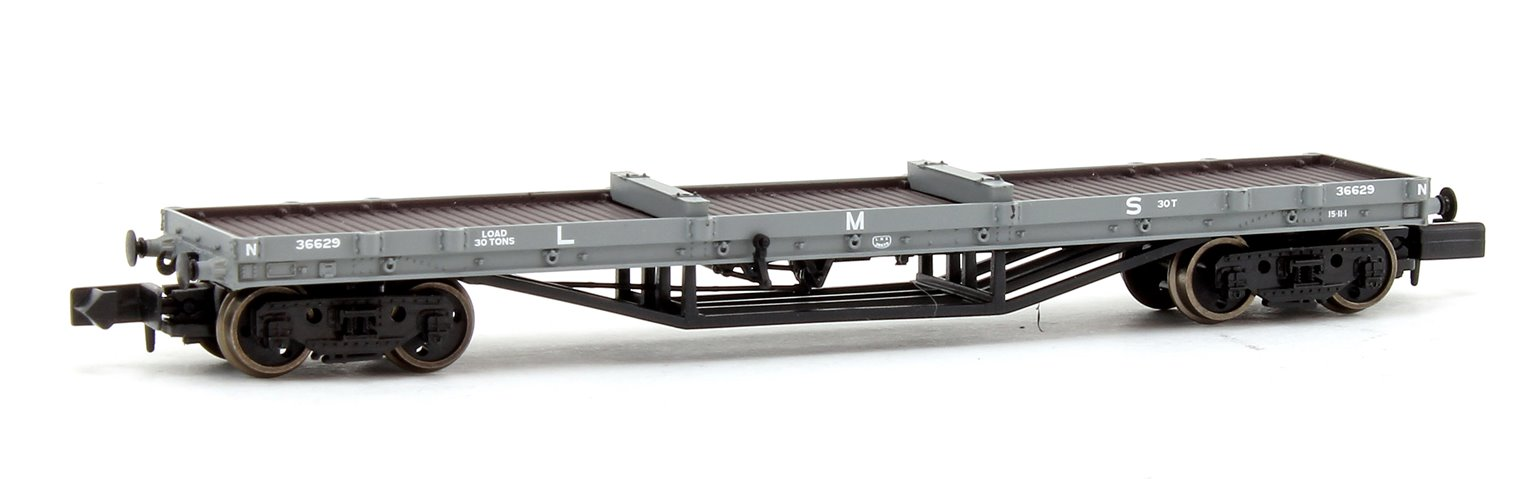 30 Ton Bogie Bolster Wagon LMS Grey with Load