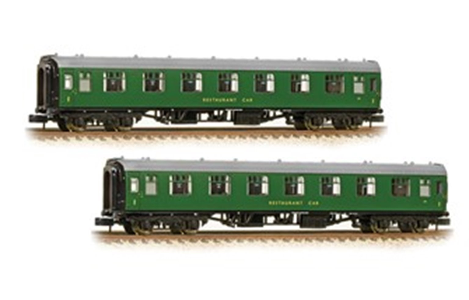 Pair of MK1 RFO Restaurant Car First Open BR Green (SR) Coaches