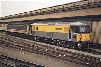 Class 73 128 'OVS Bullied CBE' Departmental Dutch Grey/Yellow Locomotive