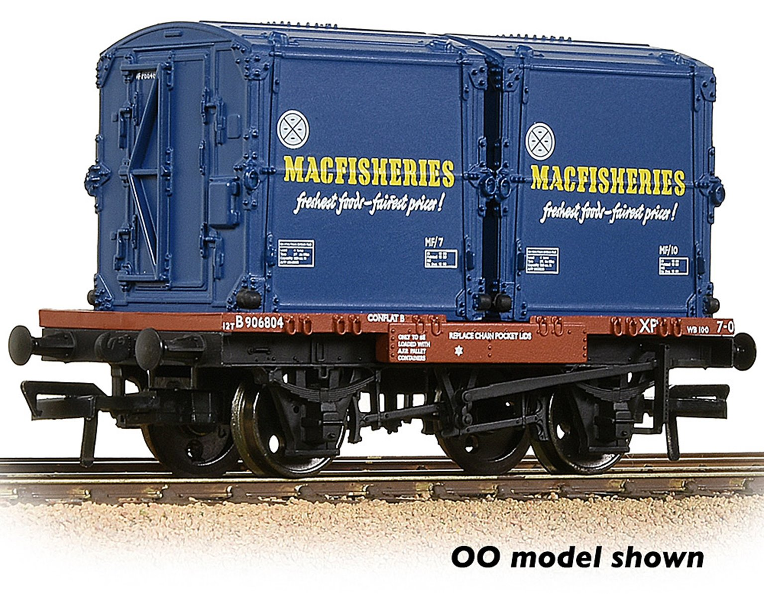 Conflat Wagon BR Bauxite (Early) With 2 'Mac Fisheries' AF Containers with Wagon Load