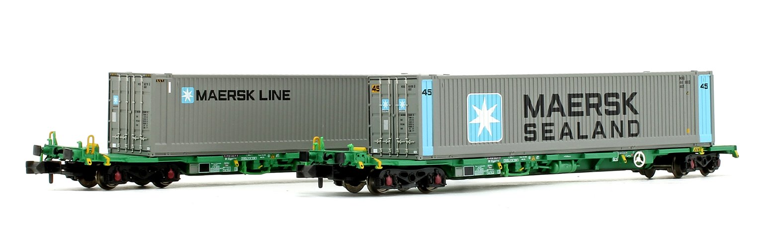 FIA Intermodal Bogie Wagons With 45ft 'Maersk line' Containers