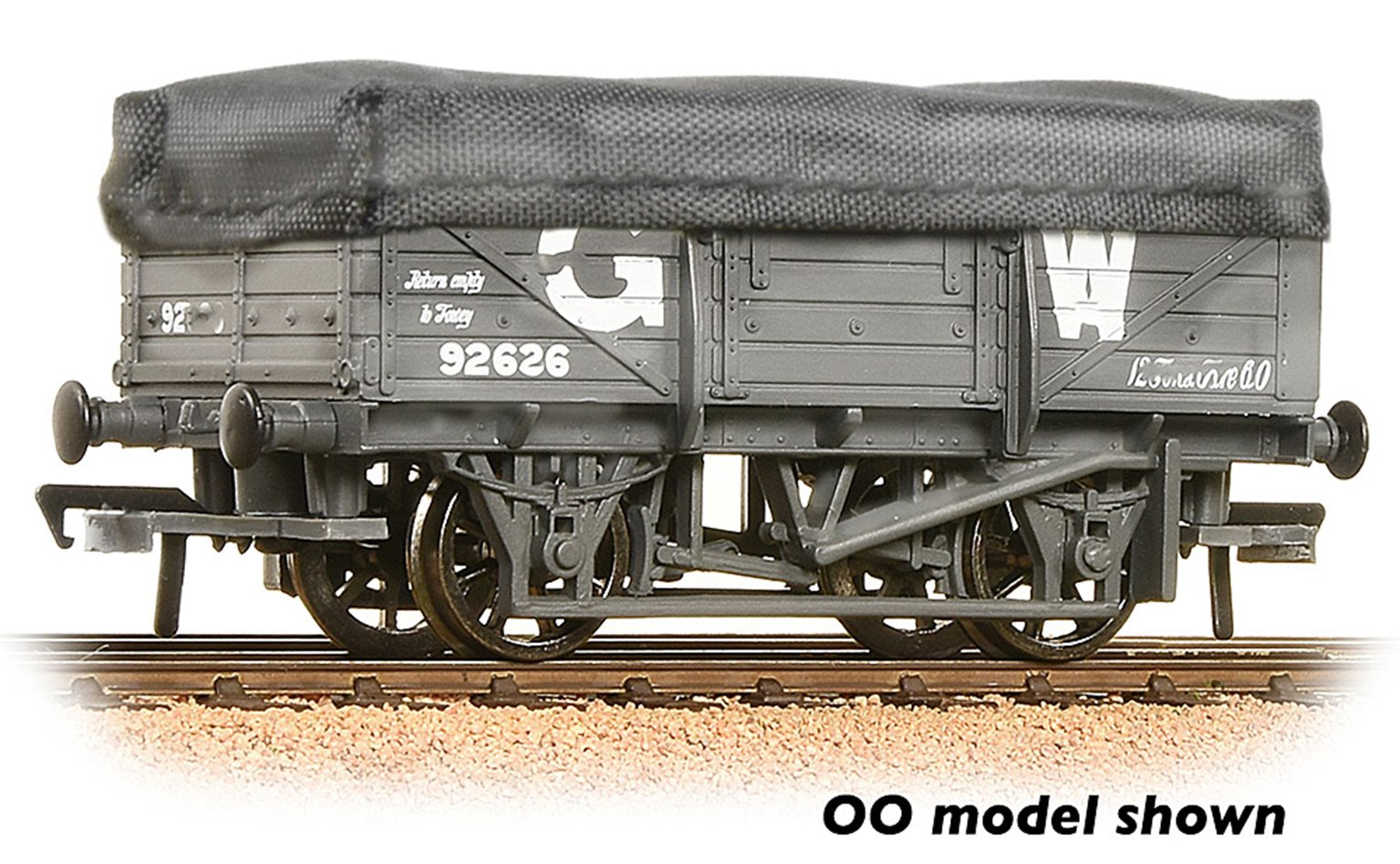 5 Plank China Clay Wagon GWR Grey With Tarpaulin Cover Weathered