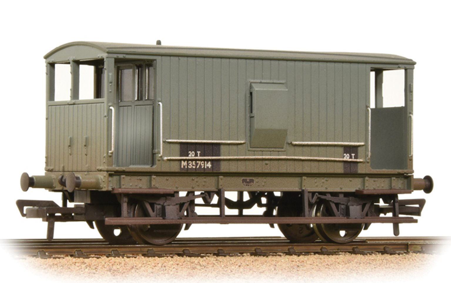 Midland 20 Ton Brake Van BR Grey (With Duckets) Weathered
