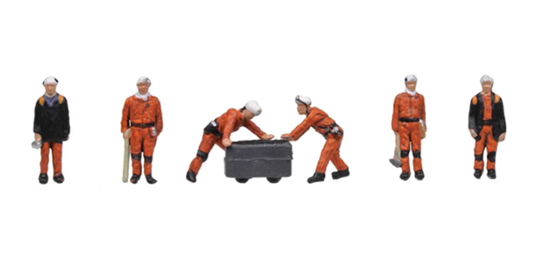 'N' Gauge Figures - 1960/70s Coal Miners