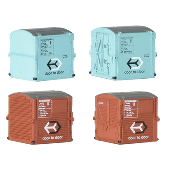 Type A Containers BR Bauxite (x2) & Type AF Containers BR Light Blue (x2)