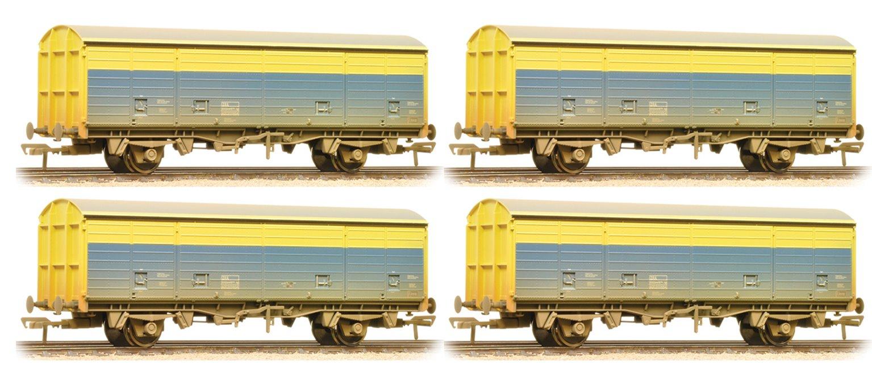 Set of 4 29 Tonne VDA Sliding Door BR CM&EE Blue & Yellow Weathered Box Vans