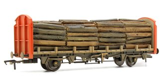 OTA (exVDA) Timber Carrier Wagon Railfreight (Red) with Lumber Load - Weathered