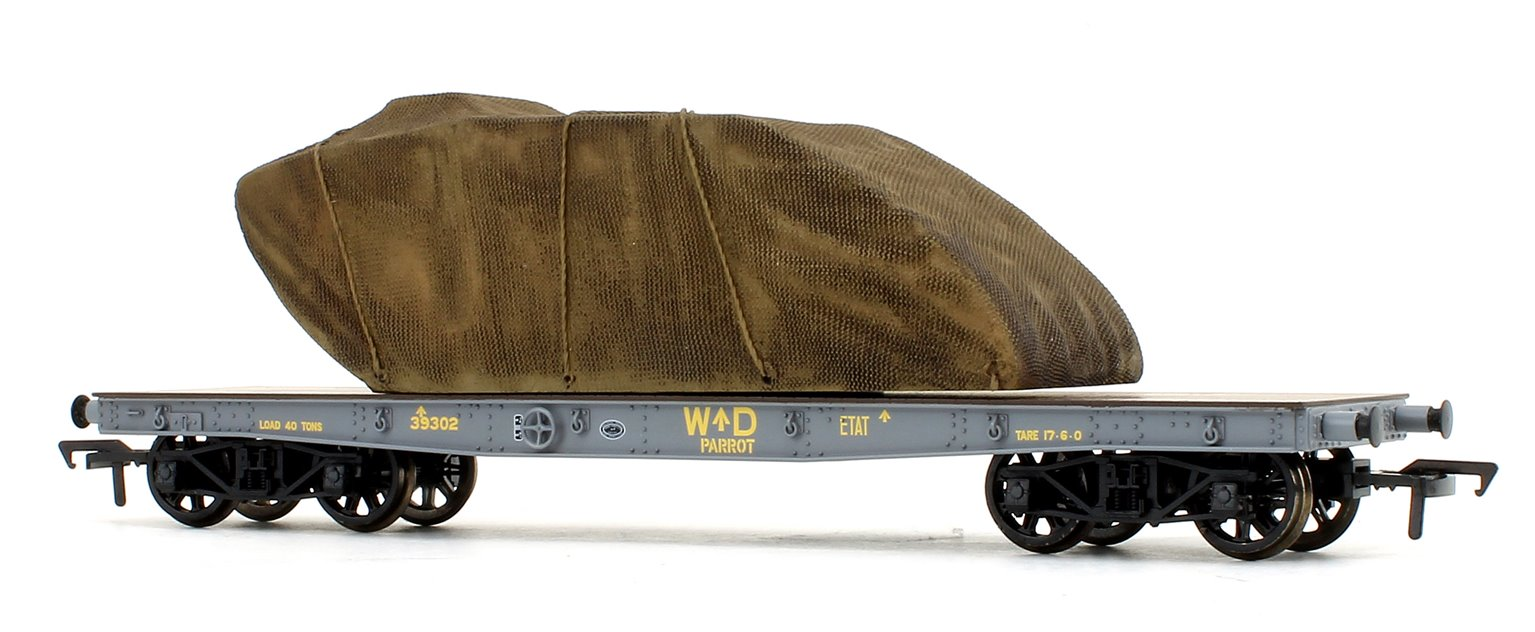 War Office 'Parrot' Bogie Wagon in WD livery with Sheeted Tank Load