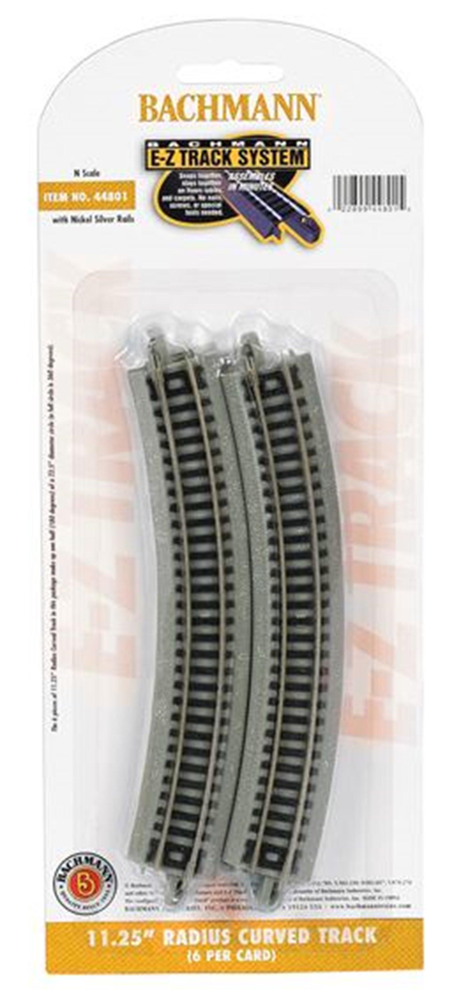 Bachmann E-Z Track 44801 11¼ Radius Curved Track (6/Card)