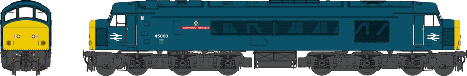 Class 45/0 Class 45060 'Sherwood Forester' BR Blue with Full Yellow Ends (Sealed Beam) Diesel Locomotive