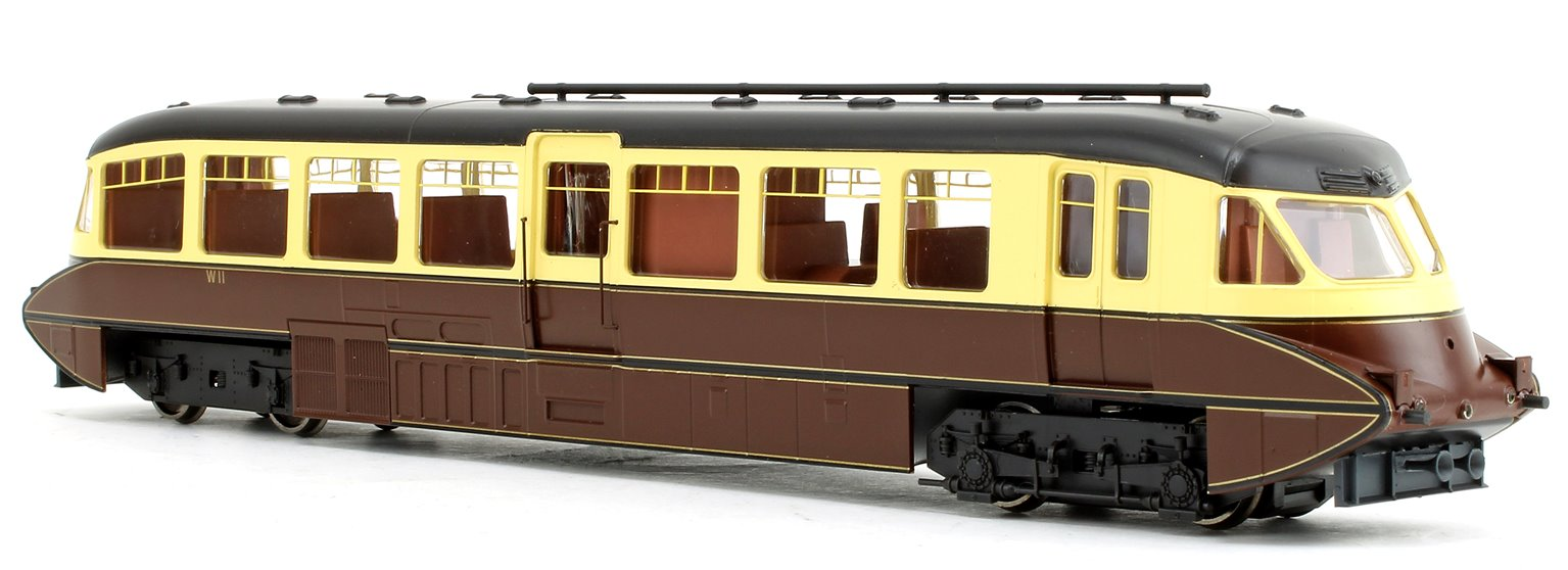 Streamlined Railcar BR Lined Chocolate/Cream No.W11 - DCC Fitted