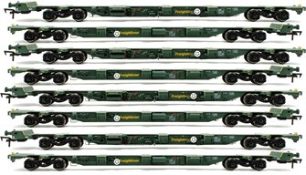 Set of 4 OO Gauge Freightliner FEA-B Spine Wagon Twin Packs