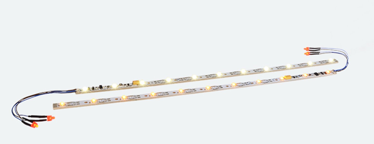 LED lighting strip with taillight, 255mm, 11 LEDs 'warm-white'. For gauge N, OO & O