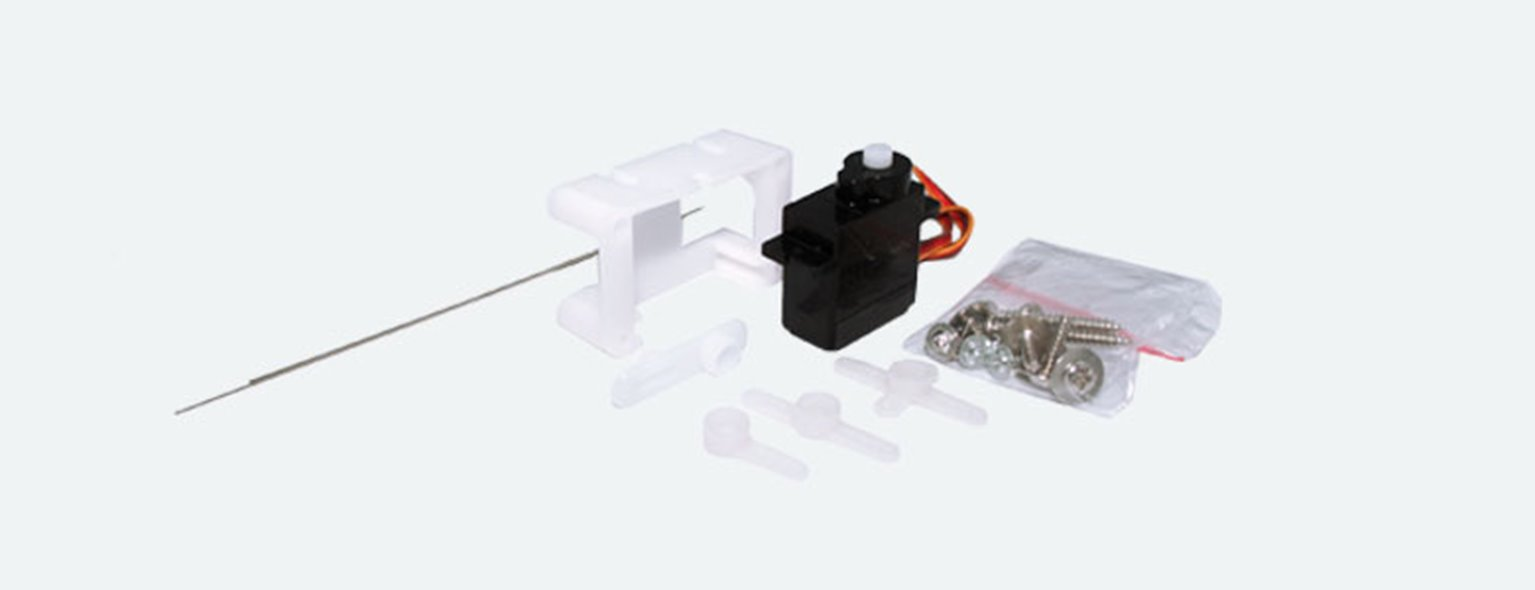 Servo Motor, precision mini-servo, micro-controlled with plastic gearing, incl. mounting kit