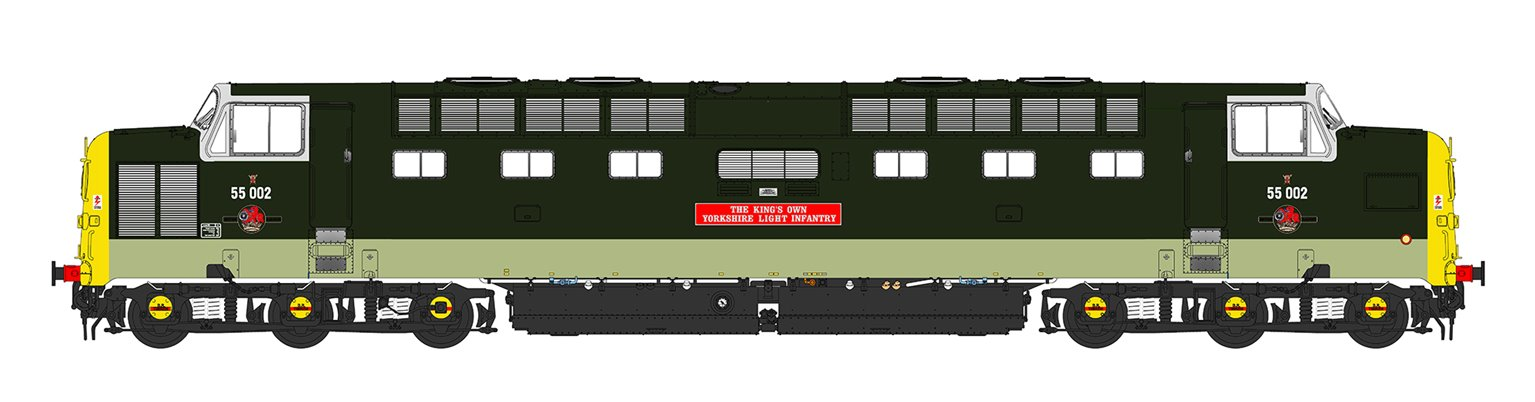 'Kings Own Yorkshire Light Infantry' Class 55 002 Deltic in Two Tone Green with full yellow ends (1980)