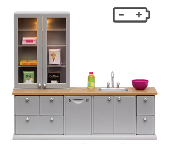 Lundby Doll's House Wash-Up Sink and Dishwasher (with lighting)