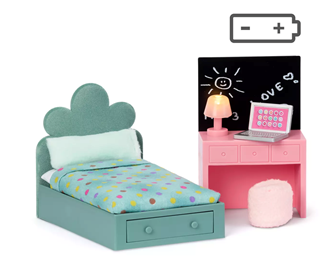 Lundby Doll's House Teenagers Room Furniture (with lighting)