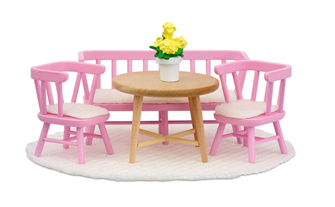 Lundby Doll's House Kitchen Furniture Dining Table Set (Light Pink)
