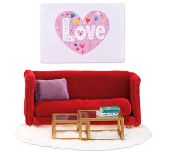 Lundby Doll's House Living Room Furniture Set (Red)