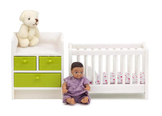 Lundby Doll's House Furniture Baby Crib and Changing Table