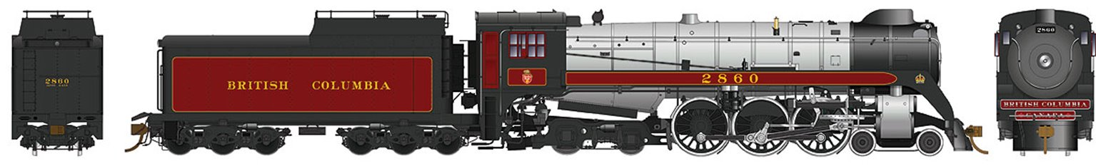 British Columbia Class H1e 4-6-4 Royal Hudson #2860 Oil Tender Buckeye Trucks - DC Silent