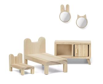 Lundby Doll's House Furniture Bedroom Set (Natural Wood)