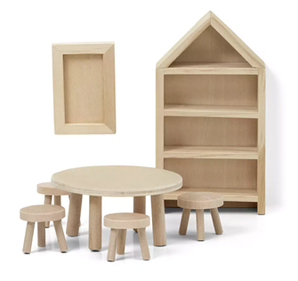Lundby Doll's House Furniture Dining Room (Natural Wood)