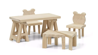 Lundby Doll's House Furniture Table and Chairs (Natural Wood)