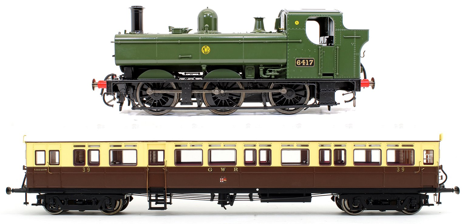 Class 64xx GWR Green 0-6-0T Locomotive No.6417 with GWR Autocoach No.39 (Twin Cities)