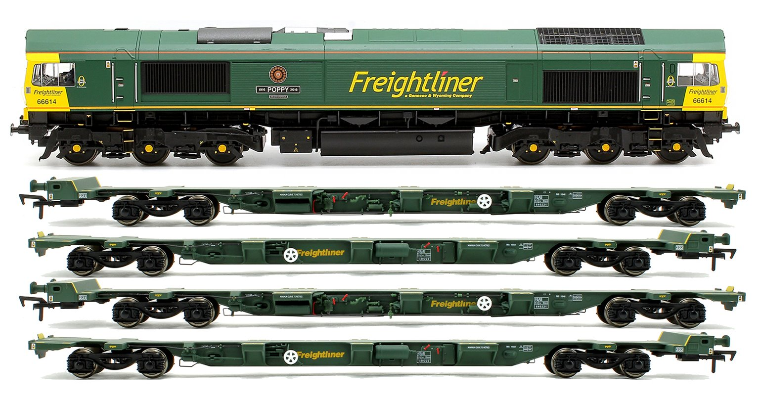 Class 66 614 'Poppy' Freightliner Locomotive plus 2x FEA-B Spine Wagon Twin Pack