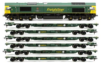 Class 66 614 'Poppy' Freightliner Locomotive plus 3x FEA-B Spine Wagon Twin Pack